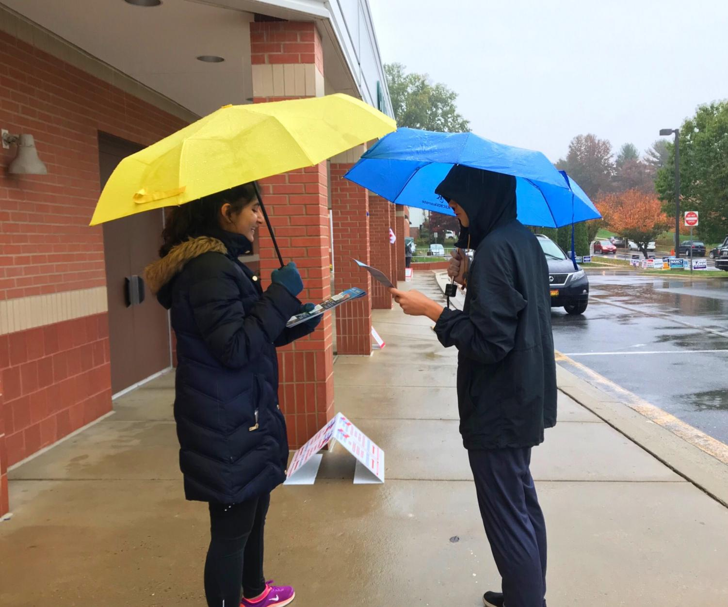 Sophomore Amna Shamim helps out on election day.