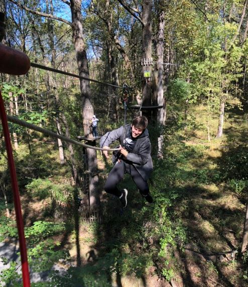 Students experience the physics of ziplining at the  GO APE Zipline.