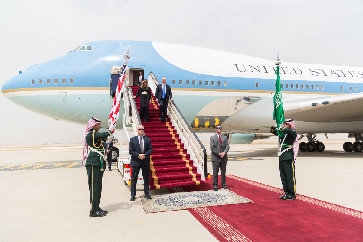 President Donald Trump and First Lady Melania Trump land in Saudi Arabia.