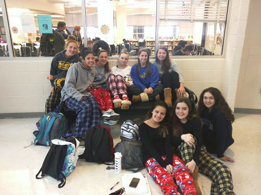 Students sport pajama pants on Pajama Day.