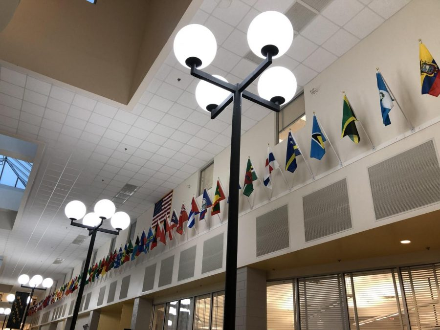 Flags from around the world installed on Main Street