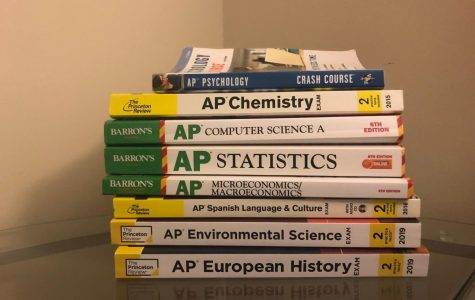 AP prep books stack up as students increasingly take more every year.