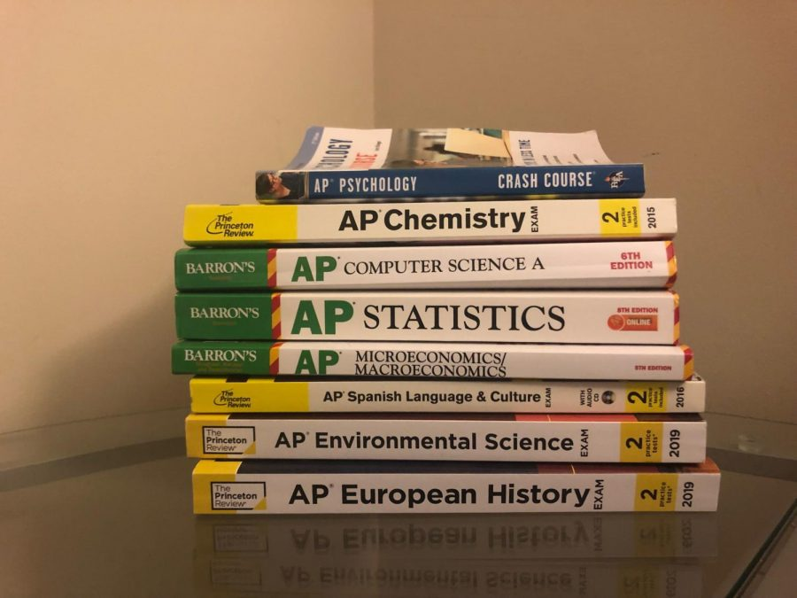 AP+prep+books+stack+up+as+students+increasingly+take+more+every+year.