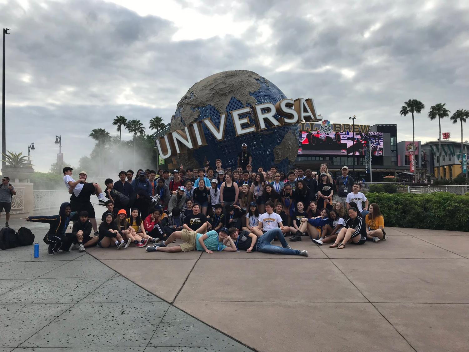 RM musicians pose in front of the globe at Universal Orlando. Photo courtesy of Peter Perry.