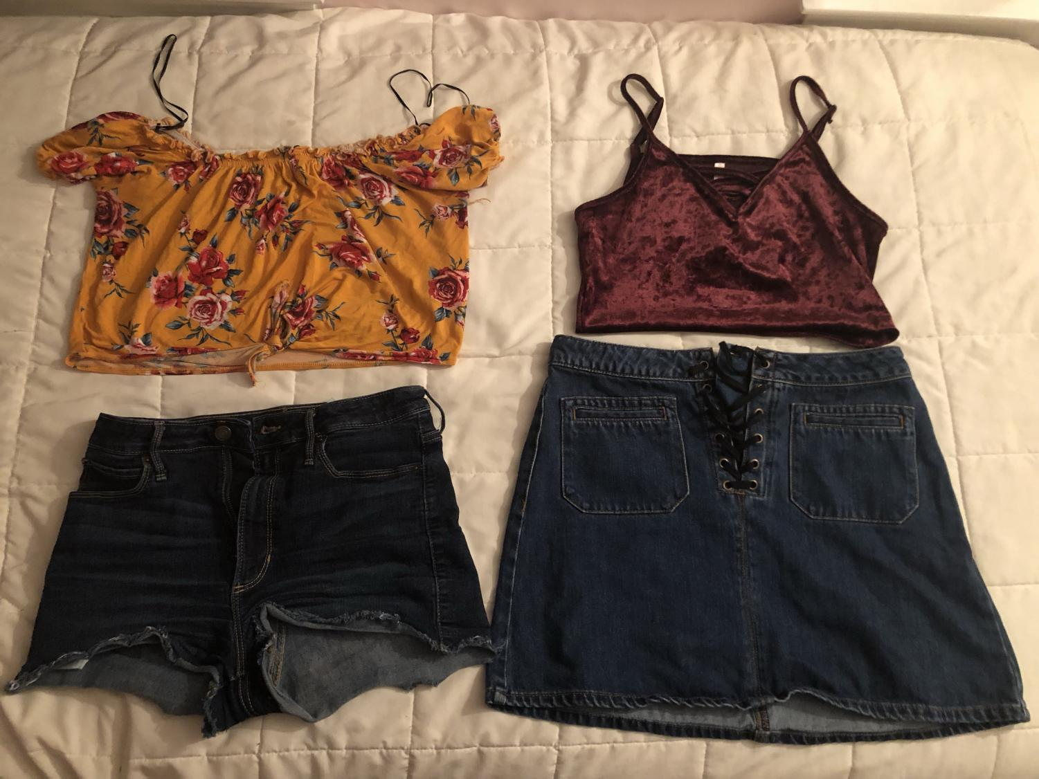 A fast fashion outfit (left) is displayed next to a thrifted, ecofriendly outfit (right)