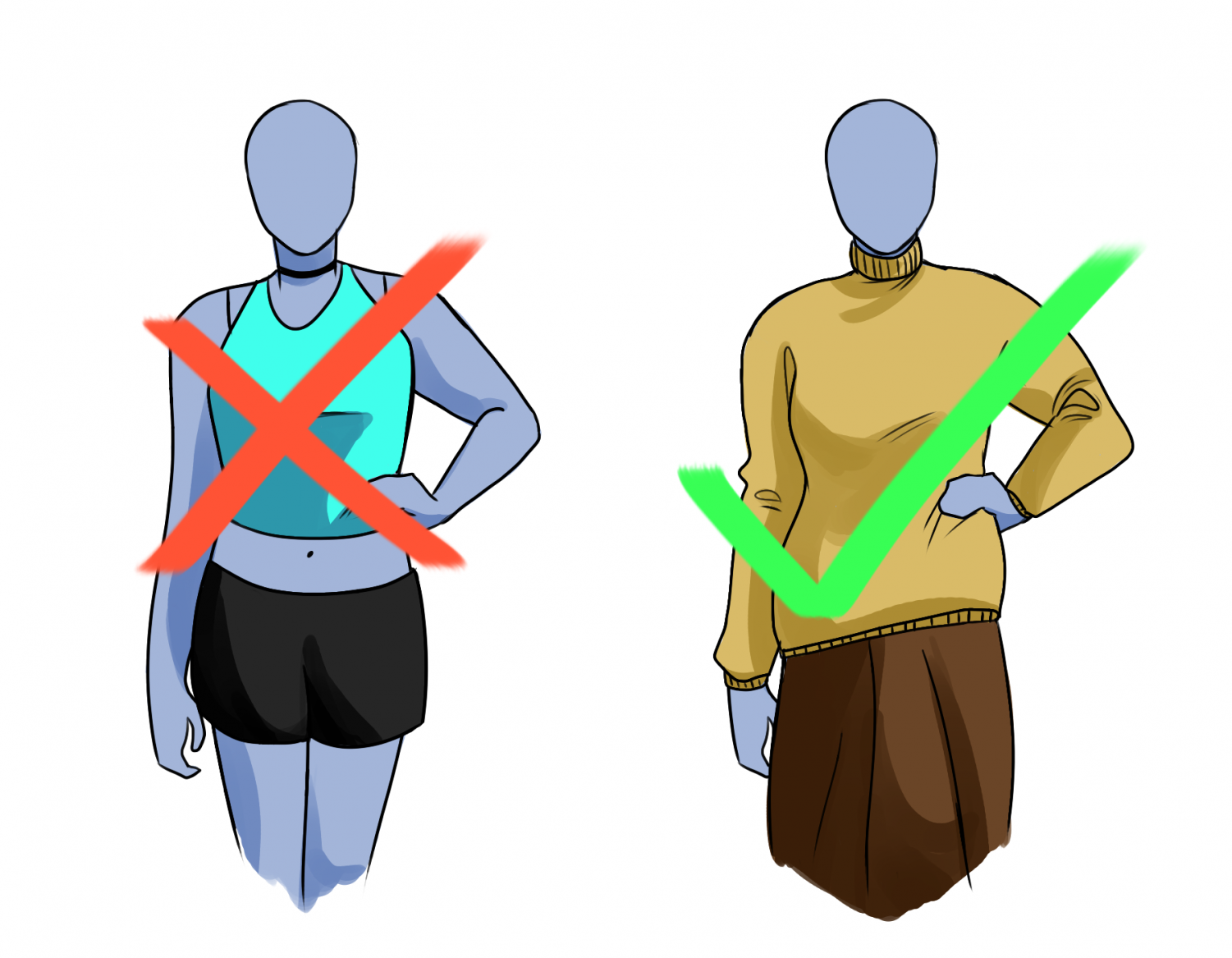 The outfit on the left is deemed to be inappropriate by RM's dress code, but certain students tend to be more targeted than others.