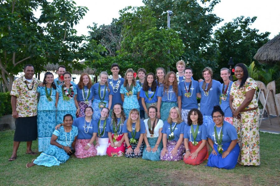 Senior Rina Levy poses with other student ambassadors in Fiji, Japan.