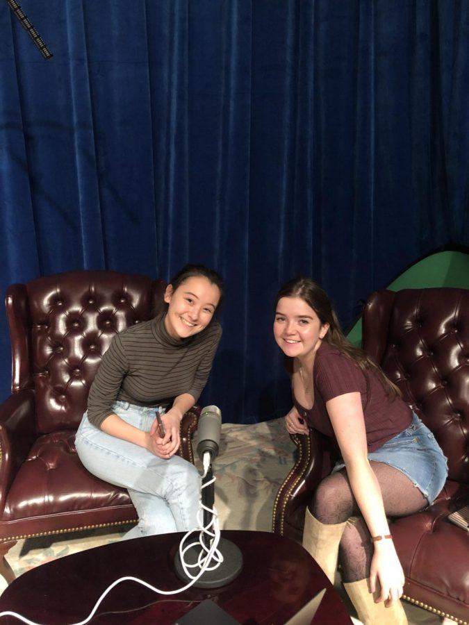 Sophomore Hana O'Looney and junior Megan Avery in the TidePod recording studio.