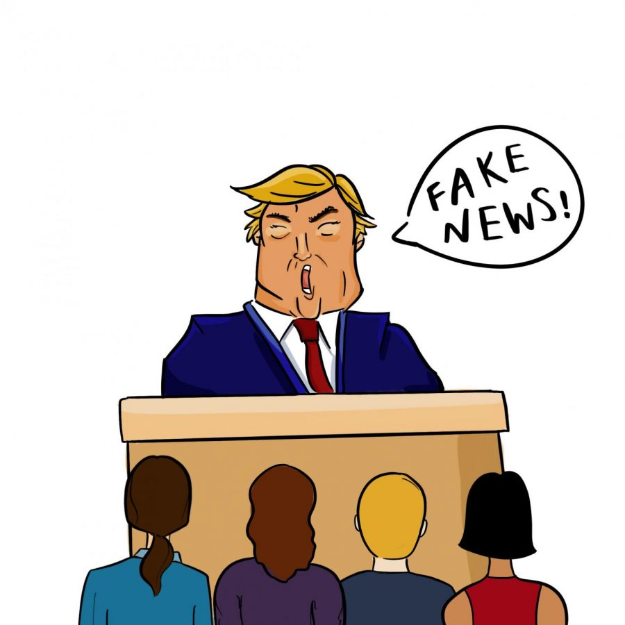 Trump+stands+like+he+is+on+trial%2C+shouting+%22Fake+news%21%22