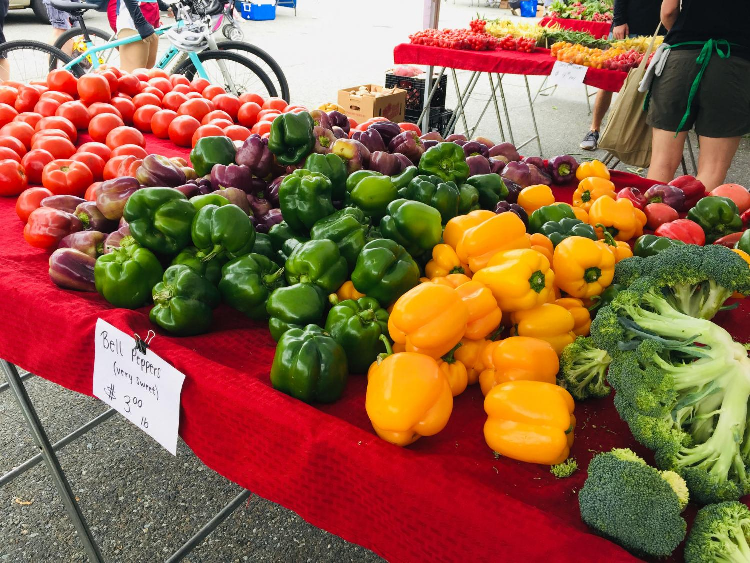 A vendor offers a wide selection of bell peppers for sale to buyers.