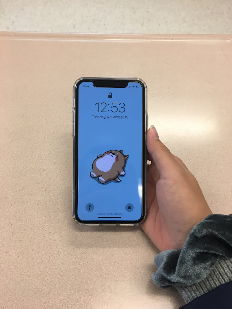 An iPhone 11 owner shows off the lockscreen of their new phone.