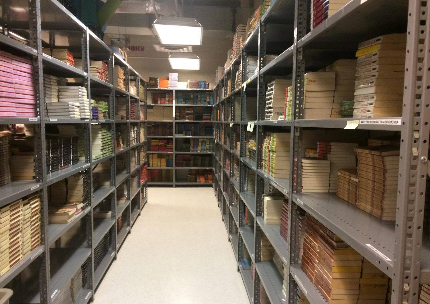 The book room, tucked away in room 259, houses copies of the books in the English curriculum. One section is dedicated solely to Shakespeare.