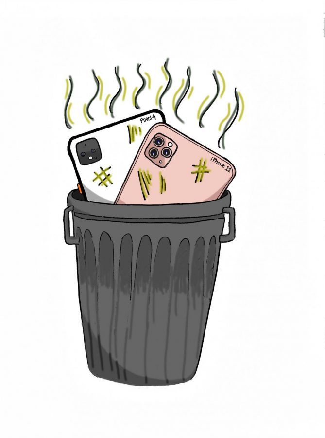 The Pixel 4 and iPhone 11 sit in a trash can.