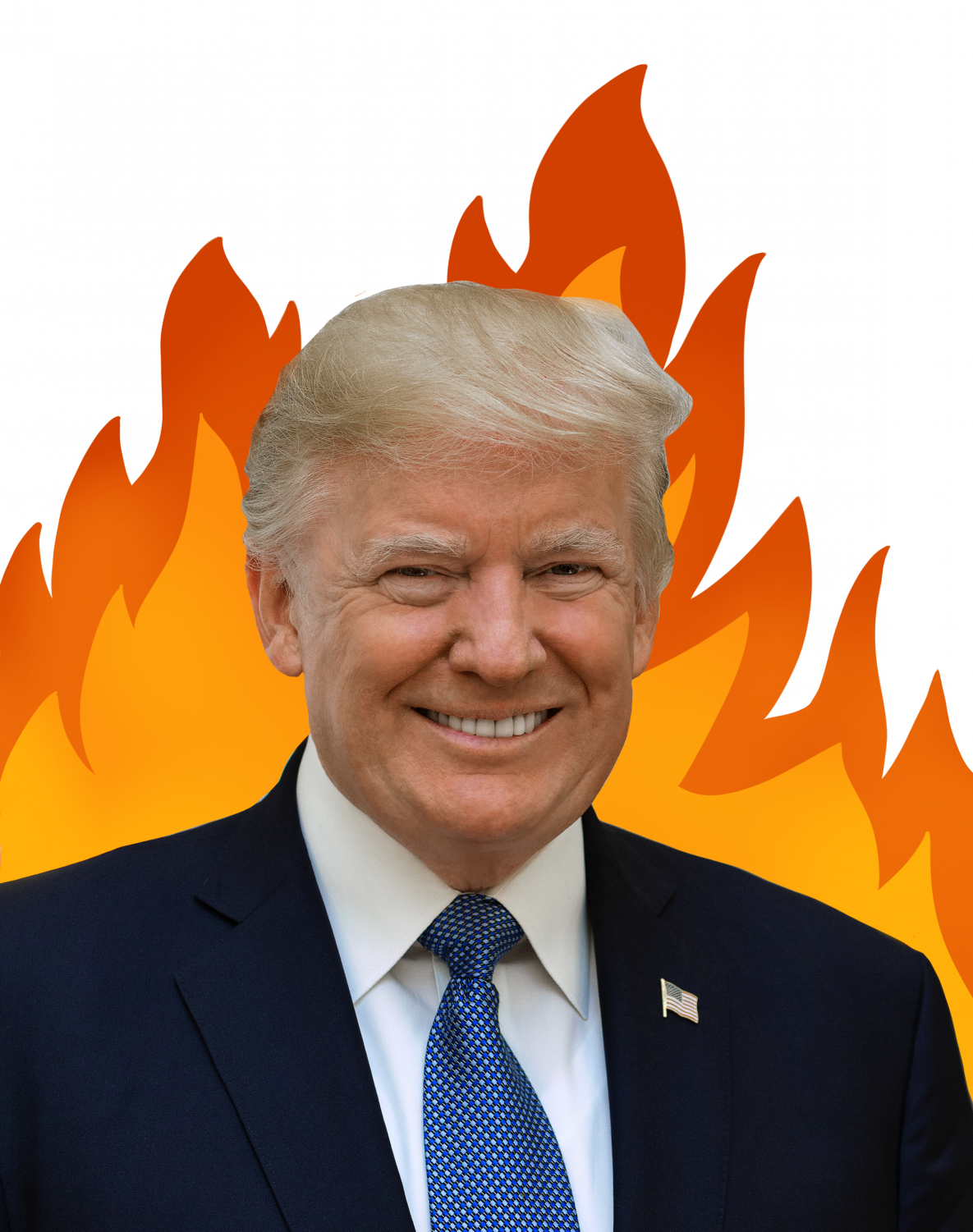 President Donald Trump smiles in front of the California wildfires.