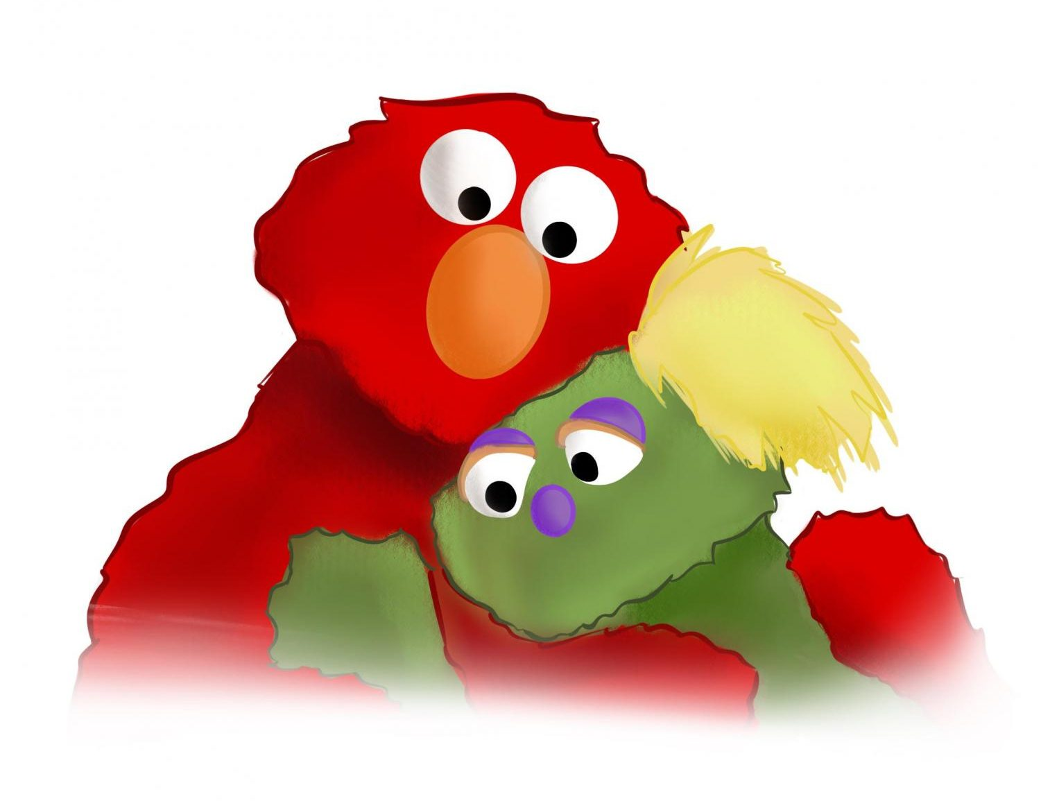 Sesame Street's Elmo and Karli, whose mother is in rehab for addiction, share a comforting hug.