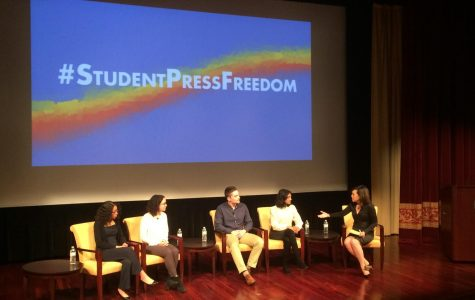 From left to right: panelists Kristine Guillaume, Maya Goldman, Joe Severino, Neha Madhira, and host Joie Chen discuss journalism at the New Visions of the Future of Press Freedom event.