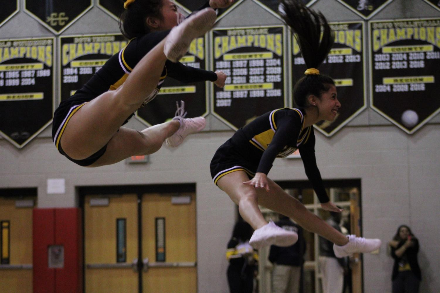 Like poms, cheer is also a two season sport: active both in the fall and winter season.