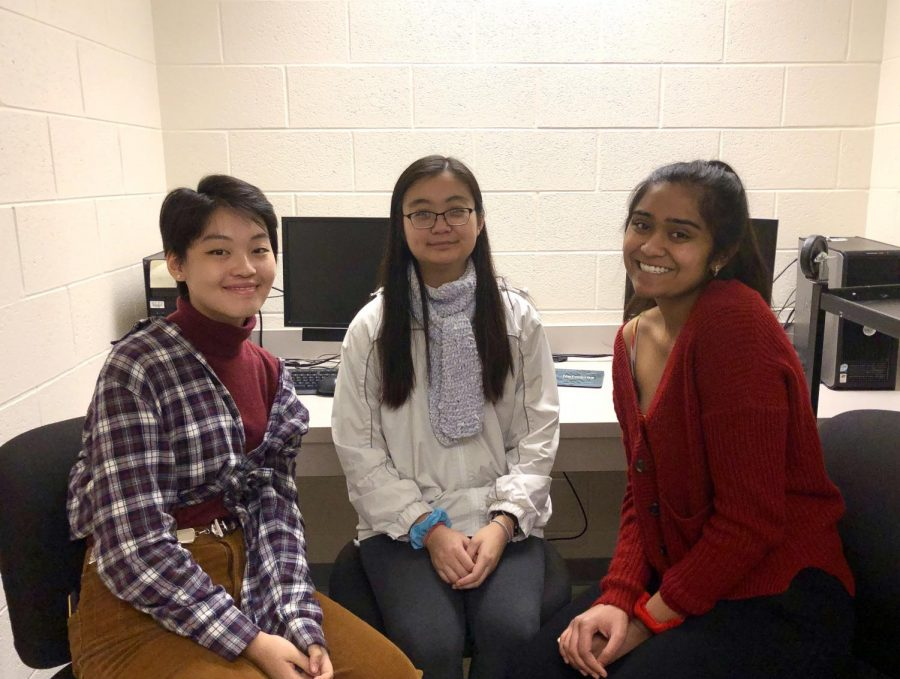 From left to right: Junior and arts editor Mary Ma, senior and features editor Christine Zhu, and senior and editor-and-chief Shevani Tewari pose for a photo after recording