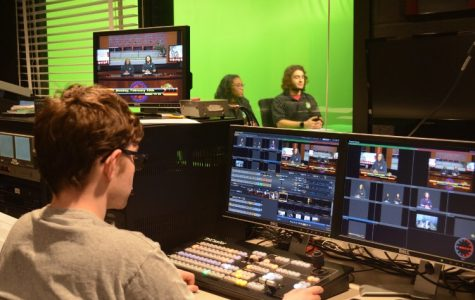 Paul Block (left) coordinates the green screen and camera angles while Caylin Rodgers (center) and Giev Batmanglich (right) prepare to read their lines.
