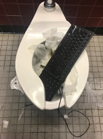A keyboard is one of the many items thrown into RM toilets.