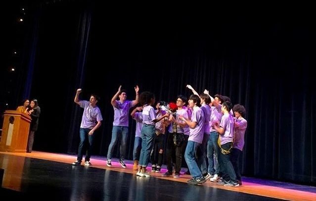 The Mr. RM contestants cheer for senior Tudor Postolache as he is crowned Mr. RM 2020.