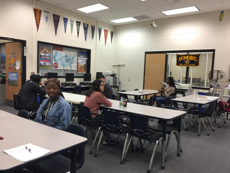 Students wait to take the Armed Services Vocational Aptitude Battery (ASVAB) test in the Career Center on Thursday, March 12, 2020.