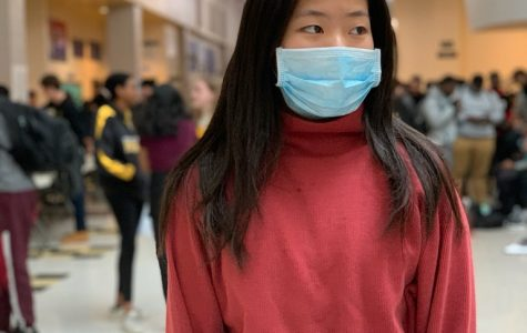 RM sophomore Emily Wu wears a mask to school as protection against the recent outbreak of COVID-19 in Montgomery County.