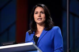 U.S. Congresswoman Tulsi Gabbard speaking with attendees at the June 2019 California Democratic Party State Convention at the George R. Moscone Convention Center in San Francisco, California.