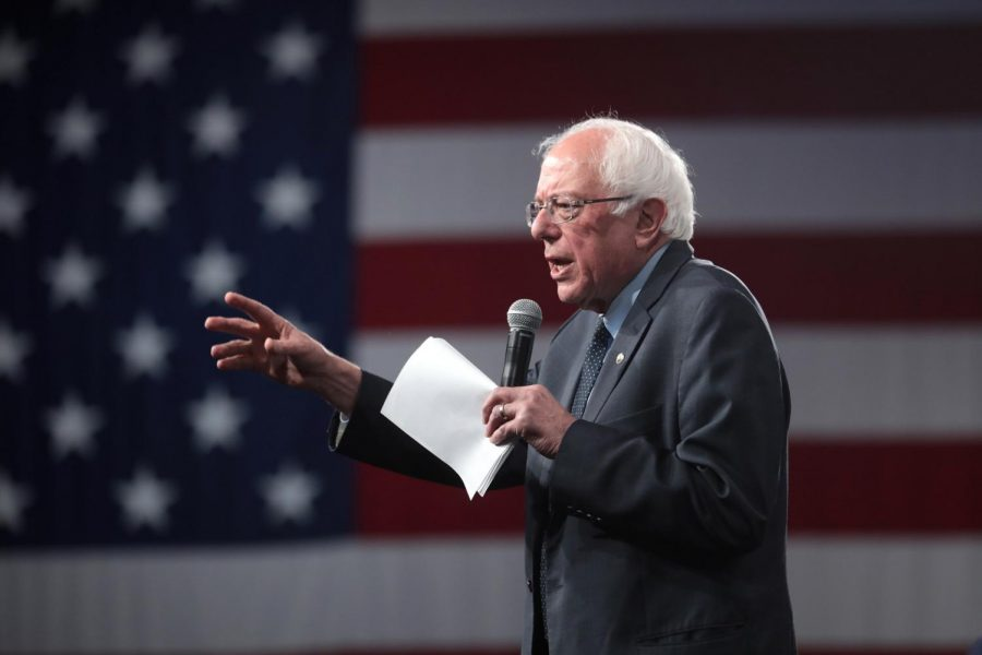 Former Democratic presidential candidate Bernie Sander speaks at the Presidential Gun Sense Forum in Des Moines, Iowa on Aug. 10 to advocate for gun safety.