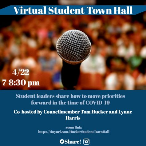 The MCPS Virtual Student Town Hall was held on April 22 from 7-8:30 p.m. via Zoom, featuring eight student advocacy groups.