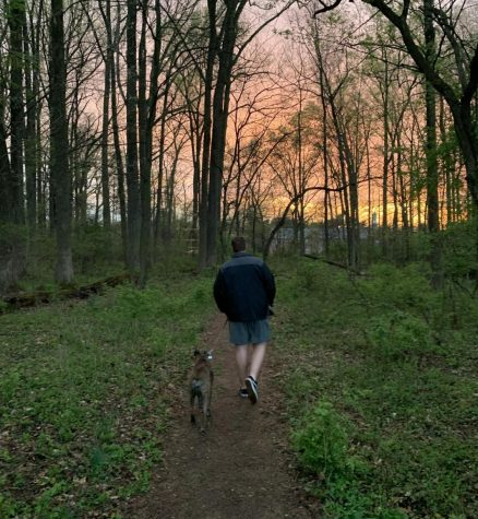 Junior Brian Rose has been spending more time  in nature, walking his dog and going on bike rides.