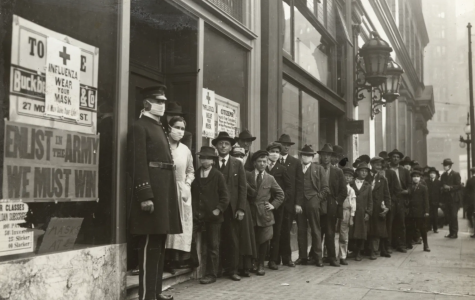 People wait in line for flu masks in San Francisco in 1918.