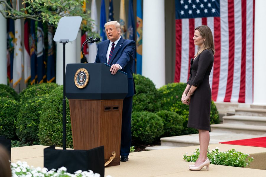 Donald Trump nominates then Judge Amy Coney Barrett on September 26, 2020 in the White House Rose Garden to fill Ruth Bader Ginsburg's vacant Supreme Court Seat.