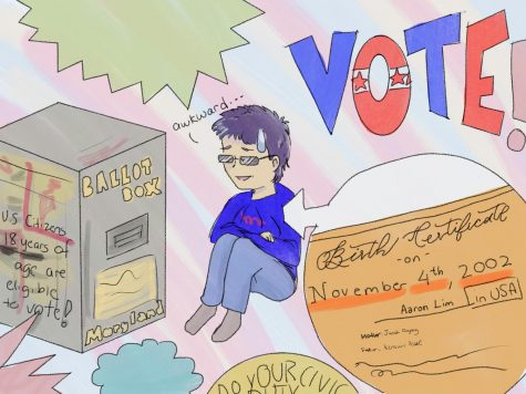 Student at a ballot box, 18th birthday is the day after election day