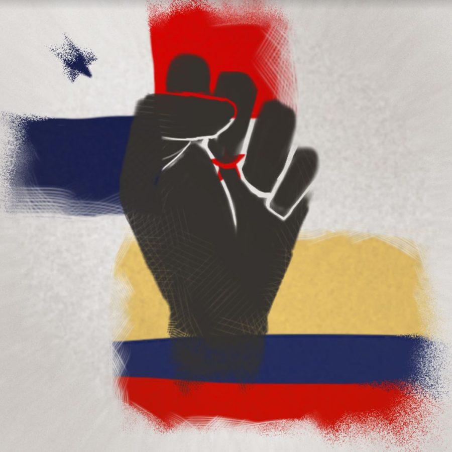 Gráfico de las banderas de Panamá y Colombia por Evelyn Shue.  Panamá se celebra independencia el 28 de Noviembre y Colombia el 11 de Noviembre.
