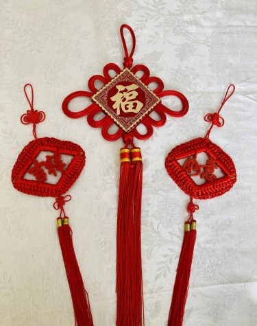 Some students hung up traditional Lunar New Year decorations to celebrate the holiday.
