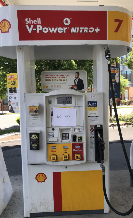 Gas pump at Shell gas station in Rockville is out of fuel.