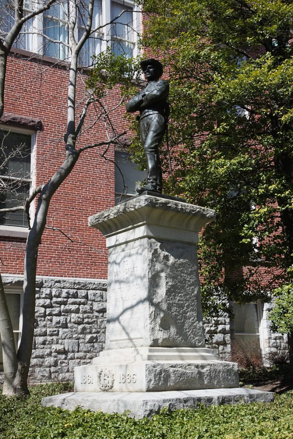 This Confederate statue, constructed in 1913, used to stand at Rockville's Red Brick Courthouse before being relocated to White's Ferry in 2017. Photo taken on March 7, 2010.