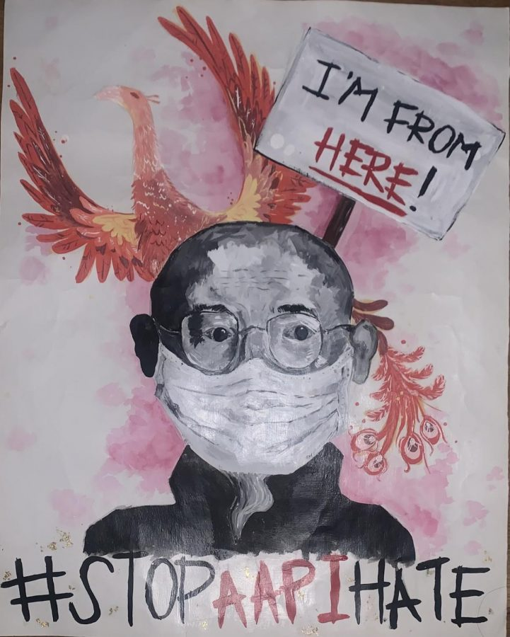 RM senior Jessie Chens artwork, captioned Rise from the Ashes, was awarded honorable mention in the county-wide AAPI poster art competition.