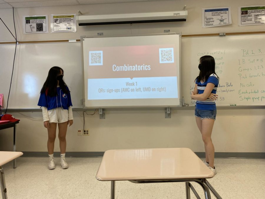 In its second meeting of the year, Richard Montgomerys Math Team met in room 314 during lunch to discuss upcoming mathematics competitions and opportunities. Senior Carina Guo and junior Samantha Wu, co-captains of the team, then led a lesson on combinatorics to prepare members for topics that may be on the tests. Be sure to join RMHS Math Team and sign up for the UMD and AMC competitions. You can contact us at rmmathteam@gmail.com, Guo said.