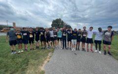 The boys JV cross country team poses for a photo following the Frank Keyser Invitational