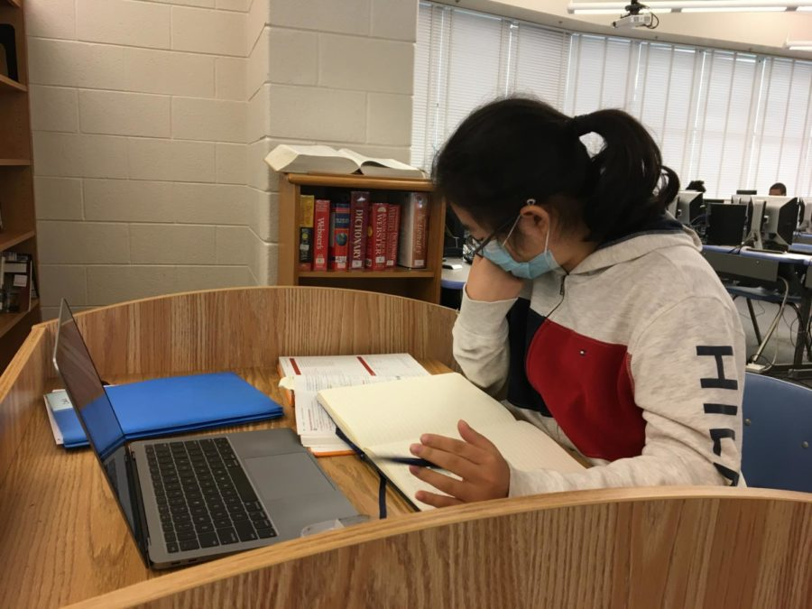 Junior+Evelyn+Shue+studies+for+a+test+in+the+Media+Center.